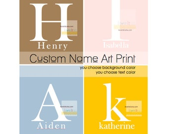 Monogram Art, Initial Print, Dorm Room Art, Personalized Art, Nursery Decor, Monogrammed, Name Art, Poster, Print, Typography Print,
