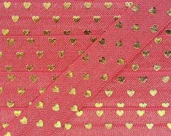 5/8 WATERMELON with Gold Polka Hearts Fold Over Elastic