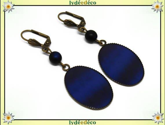 Earrings retro vintage blue night Ultramarine dark bronze resin pendants 18 x 25mm glass beads