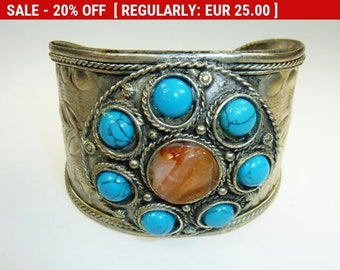 Indian Bracelet with Turquoise and Carnelian, Vintage