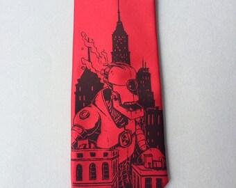 RED Necktie - Giant Robot Tie - Men's Robot Necktie