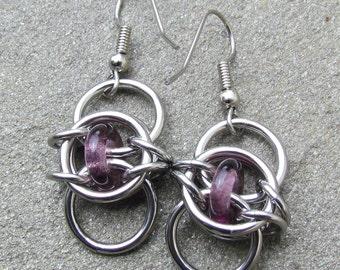 Purple Earrings, Chain Maille Earrings, Stainless Steel and Purple Glass Earrings, Dangle Earrings