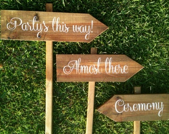 WEDDING SIGNS, Wooden Wedding Signs, Ceremony Sign, Reception Signs, Arrow Signs, Wedding Name Signs, Shabby Chic Signs WS-72