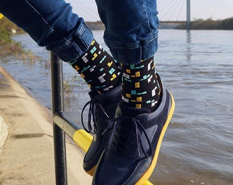 Retro Game unique mens socks, funny mens socks, cool socks, socks for women, yellow socks, patterned socks, crazy mens socks, gamer socks