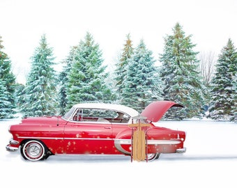 Red Chevrolet Bel Air Winter Snow Car Art Print Wall Decor Image - Unframed Poster