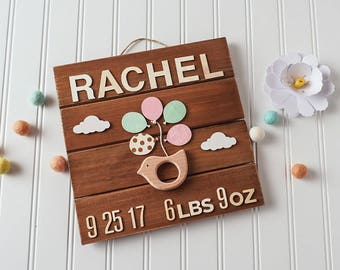 Baby Gift Personalized - Birth Announcement Wall Art - Bird
