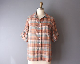 vintage 70s blouse / plaid button up shirt / cuffed sleeve blouse b4