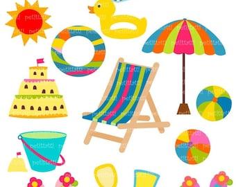 ON SALE Summer Beach clip art Digital clip art - sun sea sand clip art, beach clip art , instant download clip art summer
