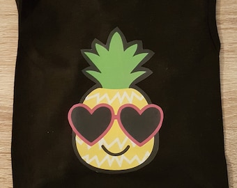 Pineapple Doggie Tank - Black Tank Top - Dog Tank Top - Dog Clothing - Dog T'shirt- Summer Dog Clothes - Cute Dog Shirt