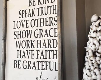 Be Kind Speak Truth Love Others Show Grace Framed Sign   Farmhouse Sign   Shabby Chic