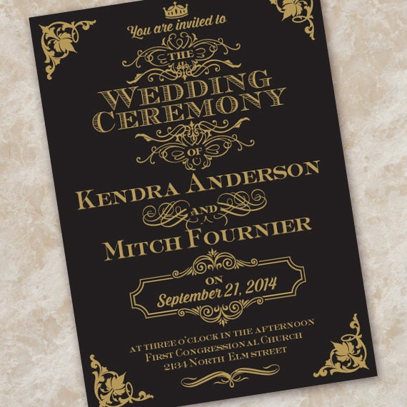 wedding invitations, black and gold wedding invitation, formal wedding invitations, wedding invitation package, formal wedding, IN337