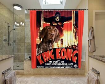German Shorthaired Pointer Art Shower Curtain, Dog Shower Curtains, Bathroom Decor - King Kong Movie Poster