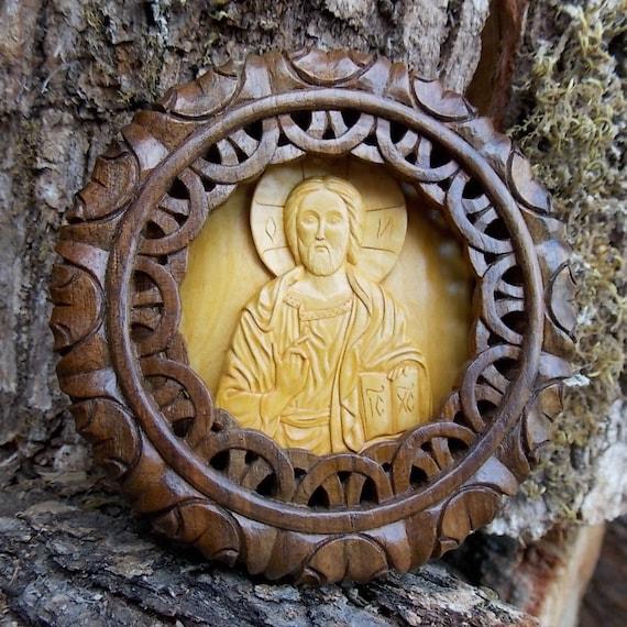 Jesus Christ wooden palmette art wood carving orthodox