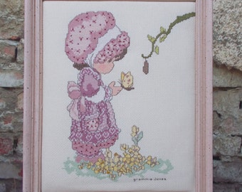 Precious Moments Finished Cross Stitch Girl In Bonnet Picture Pink Completed Wood Frame Country Decor