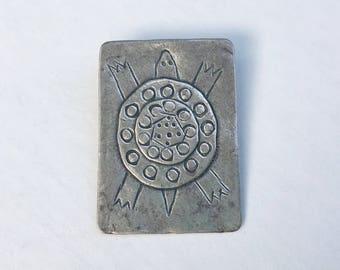 vintage sterling artisan turtle pendant