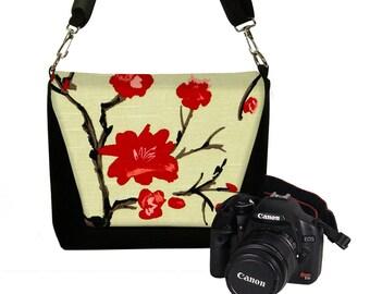 Cherry Blossom Digital Slr Camera Bag for Women Nikon Dslr Camera Bag Purse Deluxe Model  red pink black RTS