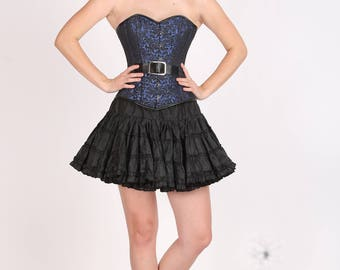 Blue Black Brocade Gothic Burlesque Waist Training Bustier Overbust Costume Top and Poly Tissue Tutu Skirt Corset Dress