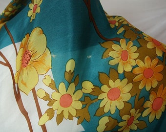 Silk Floral Scarf Vintage  Turquoise Green Yellow Scarf ' 100% Silk Women's Square Neck Scarf Square  Scarf Gift Silk Scarf Vintage Scarf