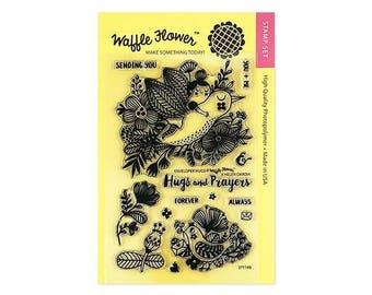 Waffle Flower ENVELOPER HUGS by Helen Dardik 4x6 - Set of 14 CLEAR Photopolymer stamps #271149