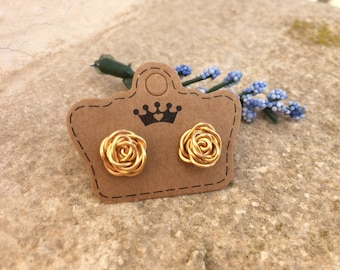 Gold Rose Earrings, Rose Earrings, Stud Earrings, Flower Earrings, Gold Studs, Gold Earrings, Flower Earrings, Gift for Her