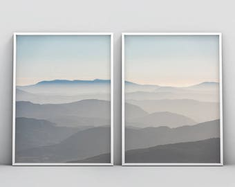 Mountain Print, Mid Century Modern Art, Abstract Wall Art, Scandinavian Art, Set of 2, Minimalist Landscape, Wall Decor, Nordic Art Poster