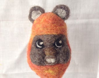 Needle Felted Wool Ewok finger puppet