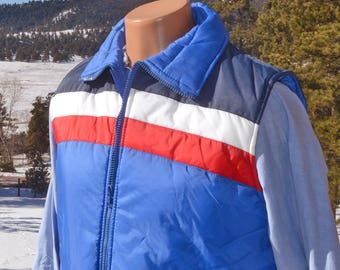 vintage 70s ski vest STRIPE puffy jacket blue yoke preppy Medium 80s competitive edge