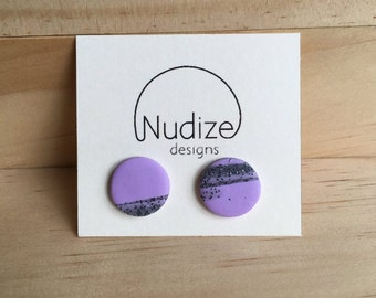 "Handmade statement stud earrings // gifts for her // ""Little lavender"""