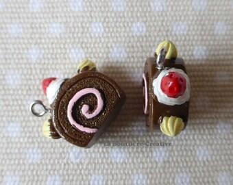 Yummy chocolate Swiss roll charm resin 18mm