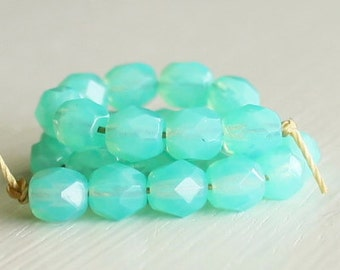 25 Milky Seafoam Faceted 6mm Czech Glass Rounds