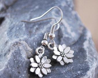 Lotus earrings, yoga earrings, silver tone jewelry, small earrings, lotus spiritual jewelry, bridal earrings