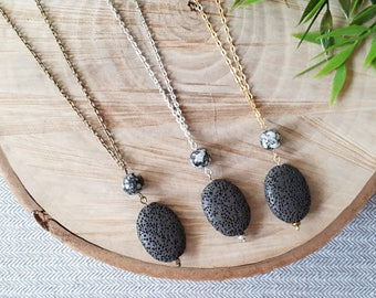 Essential Oil Diffuser Necklace, Oval Lava Bead Charm, Black And White Glass Bead, Aromatherapy Necklace, Aromatherapy Jewelry, Gift For Her