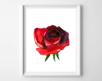 Red rose print,Red rose Art,Girls room decor,Printable red rose,Modern red decor,Red modern Art,Red Decor Print
