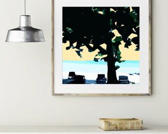 """Modern Wall Art, Mid Century Art, Abstract Print, Ocean Art, Wall Decor, Jamaica Art, Beach Art, Colorful Art, Canvas Art, """"Beach Tree"""""""