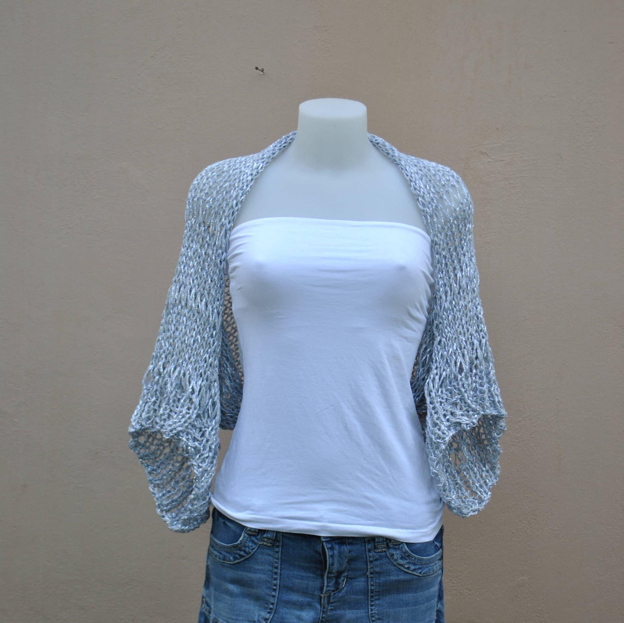 Silver knit shrug wedding bolero silver-gray shrug wedding