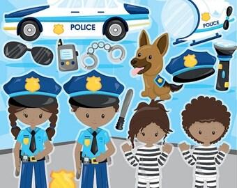 80% OFF SALE Police clipart commercial use, police officer vector graphics, police kids digital clip art, digital images - CL1013