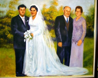 Custom portrait, custom painting, wedding portrait, wedding painting, couple portrait, couple painting, oil painting, wedding gift