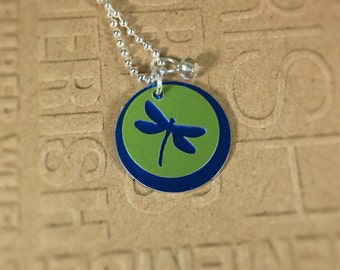 Dragonfly Silhouette necklace-blue/green