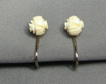 Vintage Carved Faux Ivory Rose Earrings 6047 Gift Box Free Shipping