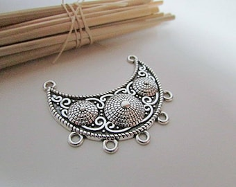 Tribal silver metal connector antique 4.6 x 4.5 cm-hole 2 mm - 167.18