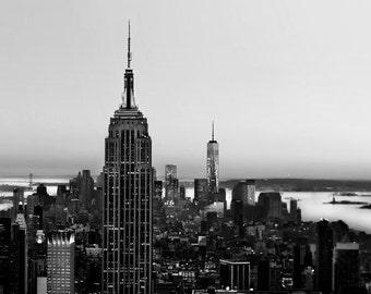 Black and White New York City Print, Manhattan Skyline, Dark, Dramatic, Gotham City, New York Photography