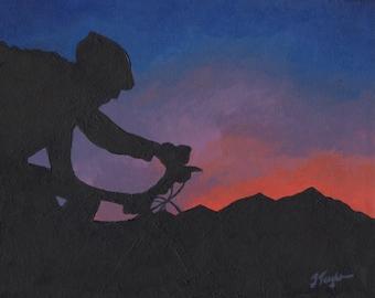 """Cycling Art Print ~ Mountain Bike Art Print ~ """"Frisco Ride with Fiery Sky"""" ~ Mountain Bike Poster ~ Bike Art ~ Biking Painting Reproduction"""