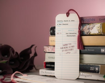 Library Check-Out Card Wedding Bookmark Favor