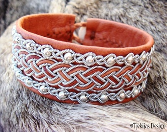 Luxurious Leather Viking Cuff in Sami style GERI with Silver beads and Pewter Braids