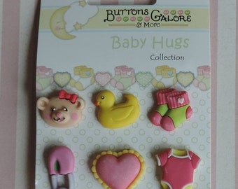 SALE Baby Girl Buttons Carded Set of 6 by Buttons Galore Baby Hugs Collection Style BH100 Socks Duck Diaper Pin Onesie Heart and Teddy Bear