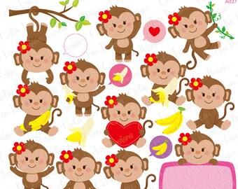 Monkey Girl Clipart, Cute Monkey Girl Clipart