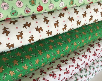 Christmas Fabric, Christmas Quilt Fabric, Merry Christmas, Christmas Decor, Sugar Plum Christmas Bundle of 5, Choose your cut
