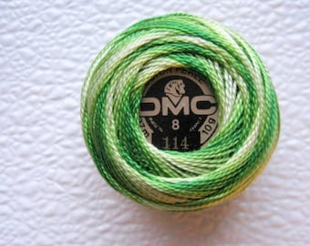 DMC 114 Perle Cotton Thread | Size 8 |  Variegated Lime Green