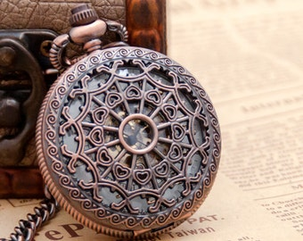 1 Mechanical Pocket Watch Necklace Watch Wedding Gift  -C114