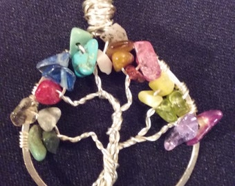 Beautiful multi colored stone and wire tree of life necklace pendant